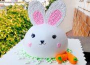 cake bunny baby decorate pink – bánh kem đầu con thỏ đẹp đơn giản (476)