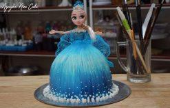 Bánh Sinh Nhật Búp Bê Elsa Trang Trí Vẽ Hình Và Váy Ren – Decorate Elsa Cake Easy to Make