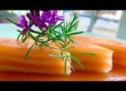 Bánh da lợn gấc đậu xanh, nước cốt dừa /Thơm ngon với màu sắc đẹp tự nhiên/ Món ngon mẹ nấu