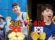Bánh bông lan nướng 20k của Việt Nam và Bánh bông lan nướng 40k của Hàn Quốc !!